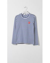 Play Comme des Garçons - Blue Striped Long Sleeve T-shirt - Lyst
