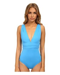DKNY - Blue Beyond Glam Square U-Wire Maillot One-Piece - Lyst