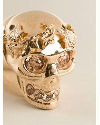 Alexander McQueen Metallic Ivy Skull Cocktail Ring