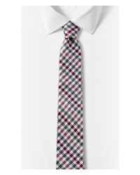 Express - Pink Multicolor Check Narrow Silk Blend Tie for Men - Lyst