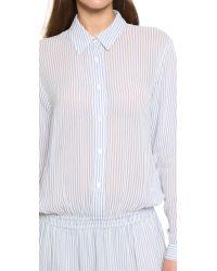 Ganni - White Park Row Dress - Vanilla Ice/blue - Lyst