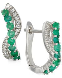 Macy's | Green Emerald (1/2 Ct. T.w.) And Diamond (1/2 Ct. T.w.) Earrings In 14k White Gold | Lyst
