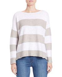Eileen Fisher Natural Petite Striped Linen-cotton Dolman Sweater