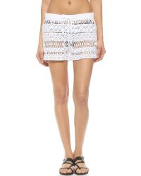 MILLY - Gathered Crochet Shorts - White - Lyst