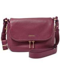 Fossil | Purple Preston Leather Small Flap Crossbody | Lyst