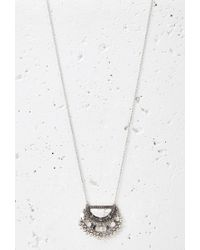 Forever 21 | Metallic Beaded Faux Stone Pendant Necklace | Lyst