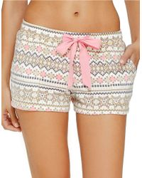 Kensie | Brown Fleece Knit Sleep Shorts | Lyst