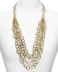 Aqua | Metallic 4 Row Hammered Link Necklace, 24"