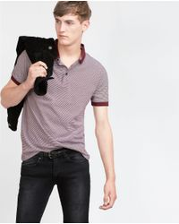 Zara | Purple Jacquard Polo Shirt for Men | Lyst