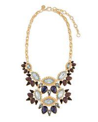 Lee Angel Blue Ornate Layered Crystal Bib Necklace