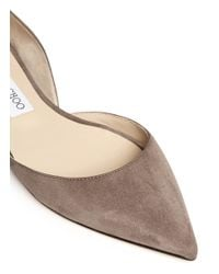 Jimmy Choo Brown 'darylin' Suede Skimmer D'orsay Flats