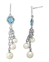Lord & Taylor | Sterling Silver Pearl And Blue Topaz Drop Earrings | Lyst