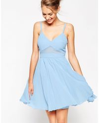 ASOS - Blue Sheer And Solid Pleated Mini Cami Dress - Lyst