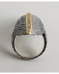 Elizabeth and James - Metallic Silver and Gold North South White Sapphire Feather Ring - Lyst