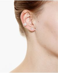 Yvonne Léon | White 18K Gold, Diamonds And Pearl Earring | Lyst