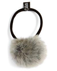 Jennifer Ouellette Gray Faux Fur Pompom Ponytail Holder