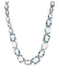 Alexis Bittar Fine Metallic Silver Blue Quartz Set Necklace