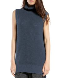 Michael Stars | Blue Sleeveless Side Slit Turtleneck | Lyst