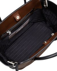 Prada Brown Bicolor Soft Calfskin Tote Bag