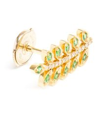 Yvonne Léon | Green 18k Gold Tsavorite and Diamond Leaf Stud Earring | Lyst