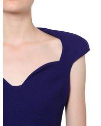 Antonio Berardi Blue Sweetheart Neckline Wool Crepe Dress