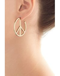 Marc By Marc Jacobs | Metallic Disc-o Peace Out Hoop Earrings - Gold | Lyst