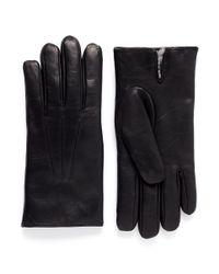 Merola Gloves Black Rex Rabbit Fur Lined Leather Gloves