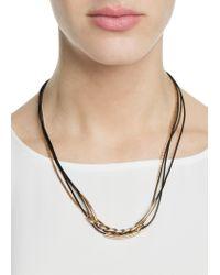 Mango - Black Combi Leather Necklace for Men - Lyst