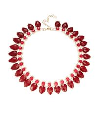 Cara | Red Teardrop Cluster Necklace | Lyst