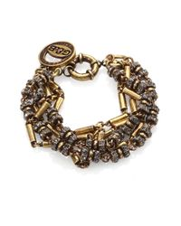 Giles & Brother | Metallic Crystal Antiqued Multi-Chain Bracelet | Lyst