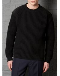 Farrell - Slim Fit Black Leather Patch Crew Neck Jumper for Men - Lyst