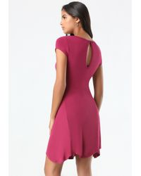 Bebe Red Logo Back Keyhole Dress