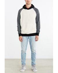 BDG Black Speckled Colorblocked Pullover Hoodie Sweatshirt for men