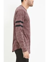 Forever 21 - Purple Striped-sleeve Heathered Top for Men - Lyst