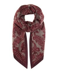 Loro Piana - Gray Printed Cashmere And Suede Scarf - Lyst
