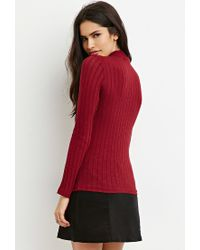 Forever 21 - Purple Mock Neck Ribbed Top - Lyst