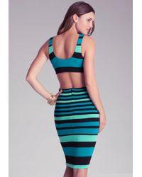 Bebe Green Open Back Stripe Midi Dress