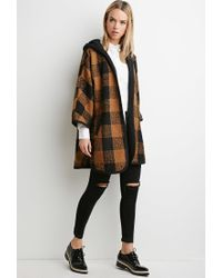 Forever 21 - Black Plaid Hooded Jacket - Lyst