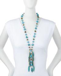 Devon Leigh - Blue Turquoise Station Fringe Necklace - Lyst