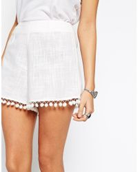 ASOS Co-ord Shorts With Pom Poms - White