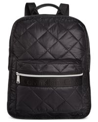 Calvin Klein Metallic Cire Nylon Quilted Backpack