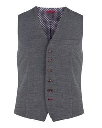 Ted Baker Blue Peasful Jacquard Waistcoat for men