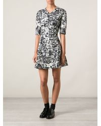 Carven - Black Printed Crepe Dress - Lyst