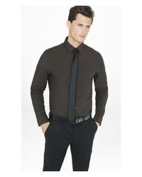 Express | Brown Fitted Iridescent 1mx Shirt for Men | Lyst