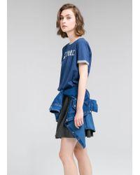 Mango - Blue Bicolor T-Shirt - Lyst