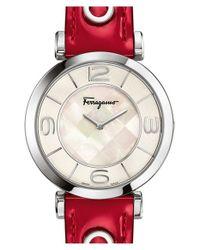 Ferragamo - Red 'gancino Deco' Leather Strap Watch - Lyst