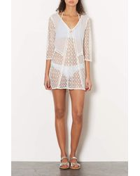 TOPSHOP - Natural Cream Lace Panel Kaftan - Lyst