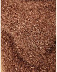 ASOS - Brown Eyelash Knit Funnel Snood - Lyst