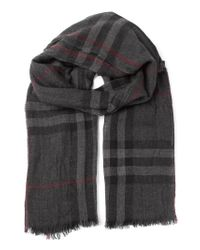 Burberry - Gray 'house Check' Scarf - Lyst