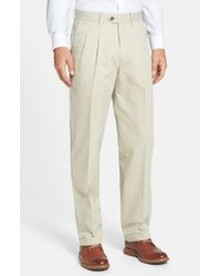 John W. Nordstrom - Brown Smartcare Pleated Supima Cotton Pants for Men - Lyst